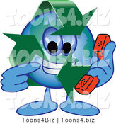 Vector Illustration of a Cartoon Recycle Mascot Holding a Phone by Toons4Biz