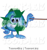 Vector Illustration of a Cartoon Recycle Mascot Holding a Pointer Stick by Toons4Biz