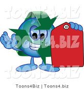 Vector Illustration of a Cartoon Recycle Mascot Holding a Red Price Tag by Toons4Biz