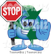 Vector Illustration of a Cartoon Recycle Mascot Holding a Stop Sign by Toons4Biz