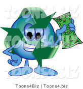 Vector Illustration of a Cartoon Recycle Mascot Holding Cash by Toons4Biz