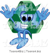 Vector Illustration of a Cartoon Recycle Mascot Jumping by Toons4Biz