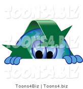Vector Illustration of a Cartoon Recycle Mascot Looking over a Surface by Toons4Biz