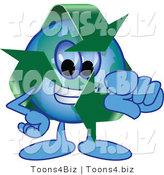 Vector Illustration of a Cartoon Recycle Mascot Pointing Outwards by Toons4Biz