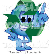 Vector Illustration of a Cartoon Recycle Mascot Pointing Upwards by Toons4Biz
