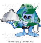 Vector Illustration of a Cartoon Recycle Mascot Serving a Platter by Toons4Biz