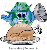 Vector Illustration of a Cartoon Recycle Mascot Serving a Thanksgiving Turkey by Toons4Biz