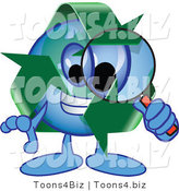 Vector Illustration of a Cartoon Recycle Mascot Using a Magnifying Glass by Toons4Biz