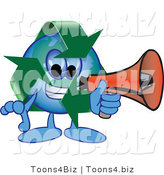 Vector Illustration of a Cartoon Recycle Mascot Using a Megaphone by Toons4Biz