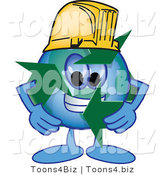 Vector Illustration of a Cartoon Recycle Mascot Wearing a Hard Hat by Toons4Biz