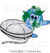 Vector Illustration of a Cartoon Recycle Mascot with a Computer Mouse by Toons4Biz
