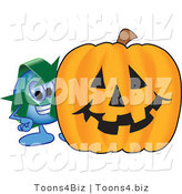 Vector Illustration of a Cartoon Recycle Mascot with a Halloween Pumpkin by Toons4Biz