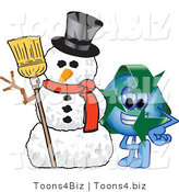 Vector Illustration of a Cartoon Recycle Mascot with a Snowman by Toons4Biz