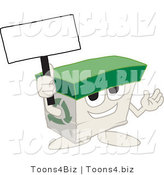 Vector Illustration of a Cartoon Recycled Paper Box Mascot Holding a Blank Sign by Toons4Biz