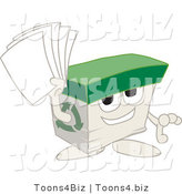 Vector Illustration of a Cartoon Recycled Paper Box Mascot Holding Pages by Toons4Biz
