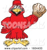 Vector Illustration of a Cartoon Red Cardinal Bird Mascot Baseball Player by Toons4Biz