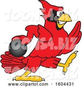 Vector Illustration of a Cartoon Red Cardinal Bird Mascot Bowling by Toons4Biz