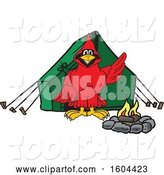 Vector Illustration of a Cartoon Red Cardinal Bird Mascot Camping by Toons4Biz