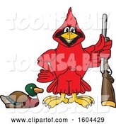 Vector Illustration of a Cartoon Red Cardinal Bird Mascot Duck Hunting by Toons4Biz