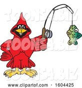Vector Illustration of a Cartoon Red Cardinal Bird Mascot Fishing by Toons4Biz