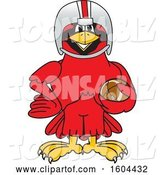 Vector Illustration of a Cartoon Red Cardinal Bird Mascot Football Player by Toons4Biz