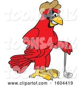 Vector Illustration of a Cartoon Red Cardinal Bird Mascot Golfer by Toons4Biz