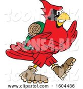 Vector Illustration of a Cartoon Red Cardinal Bird Mascot Hiking by Toons4Biz