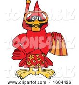 Vector Illustration of a Cartoon Red Cardinal Bird Mascot in Scuba Gear by Toons4Biz