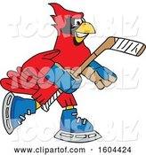 Vector Illustration of a Cartoon Red Cardinal Bird Mascot Playing Ice Hockey by Toons4Biz