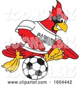 Vector Illustration of a Cartoon Red Cardinal Bird Mascot Playing Soccer by Toons4Biz