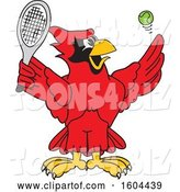 Vector Illustration of a Cartoon Red Cardinal Bird Mascot Playing Tennis by Toons4Biz