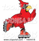 Vector Illustration of a Cartoon Red Cardinal Bird Mascot Roller Blading by Toons4Biz
