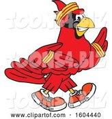 Vector Illustration of a Cartoon Red Cardinal Bird Mascot Running or Jogging by Toons4Biz