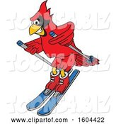 Vector Illustration of a Cartoon Red Cardinal Bird Mascot Skiing by Toons4Biz