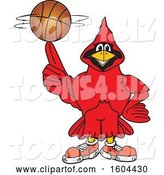Vector Illustration of a Cartoon Red Cardinal Bird Mascot Spinning a Basketball by Toons4Biz