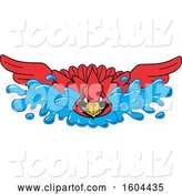 Vector Illustration of a Cartoon Red Cardinal Bird Mascot Swimming by Toons4Biz