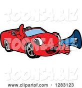 Vector Illustration of a Cartoon Red Convertible Car Mascot Announcing with a Megaphone by Toons4Biz