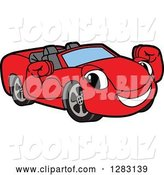 Vector Illustration of a Cartoon Red Convertible Car Mascot Flexing His Muscles by Toons4Biz