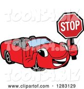 Vector Illustration of a Cartoon Red Convertible Car Mascot Gesturing and Holding a Stop Sign by Toons4Biz