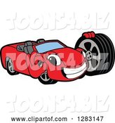 Vector Illustration of a Cartoon Red Convertible Car Mascot Gesturing Ok and Holding a Tire by Toons4Biz