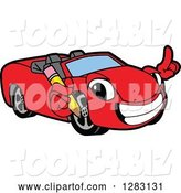 Vector Illustration of a Cartoon Red Convertible Car Mascot Holding a Pencil by Toons4Biz