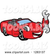 Vector Illustration of a Cartoon Red Convertible Car Mascot Holding a Thumb up and a Wrench by Toons4Biz