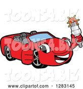 Vector Illustration of a Cartoon Red Convertible Car Mascot Holding a Thumb up and Spark Plug by Toons4Biz