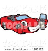 Vector Illustration of a Cartoon Red Convertible Car Mascot Holding and Pointing to a Cell Phone by Toons4Biz