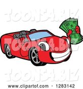 Vector Illustration of a Cartoon Red Convertible Car Mascot Holding Cash Money by Toons4Biz