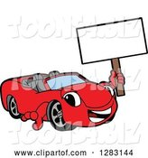Vector Illustration of a Cartoon Red Convertible Car Mascot Holding up a Blank Sign by Toons4Biz