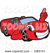 Vector Illustration of a Cartoon Red Convertible Car Mascot Holding up a Finger by Toons4Biz