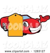 Vector Illustration of a Cartoon Red Convertible Car Mascot Presenting and Holding a Price Tag by Toons4Biz