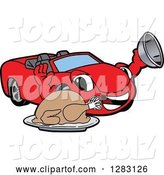 Vector Illustration of a Cartoon Red Convertible Car Mascot Serving a Thanksgiving Turkey by Toons4Biz