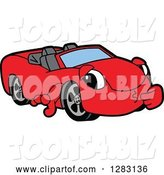 Vector Illustration of a Cartoon Red Convertible Car Mascot Thinking by Toons4Biz